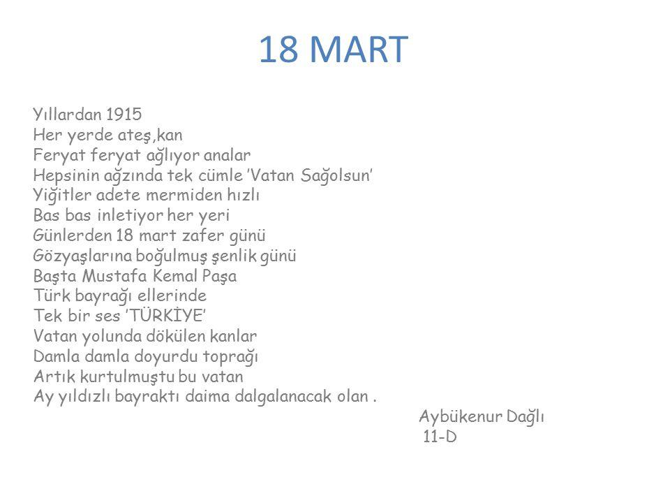18 MART Yıllardan 1915 Her yerde ateş,kan Feryat feryat ağlıyor analar