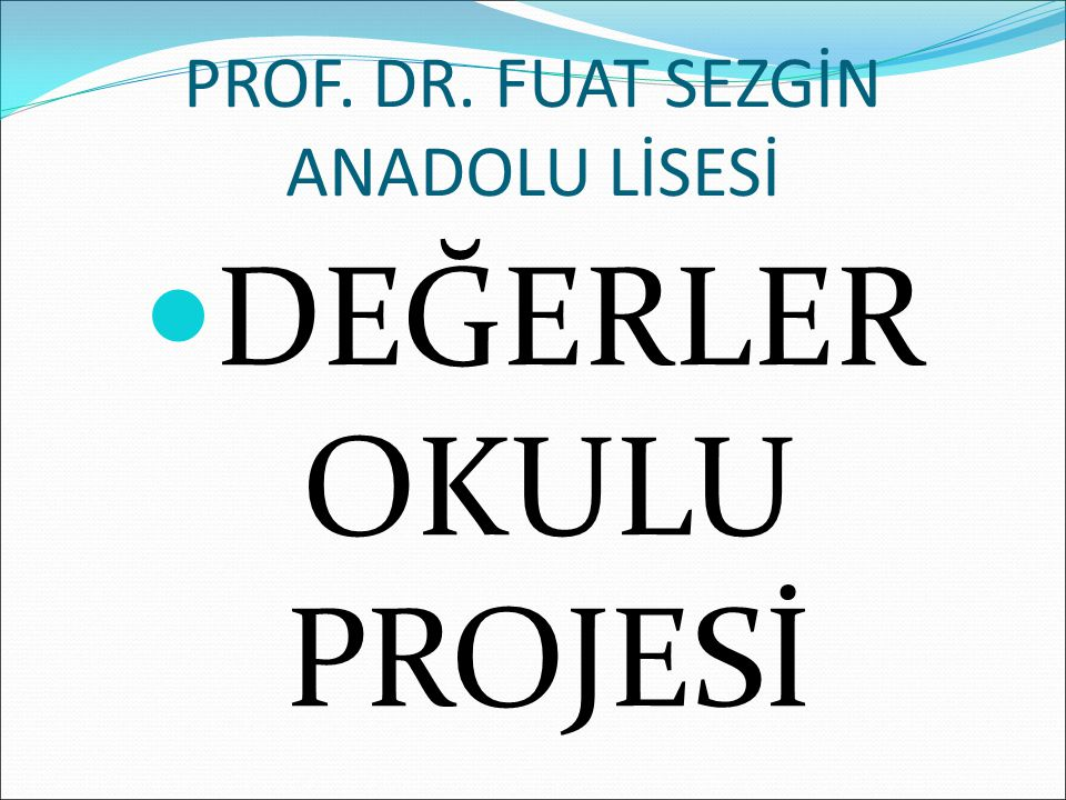 PROF. DR. FUAT SEZGİN ANADOLU LİSESİ