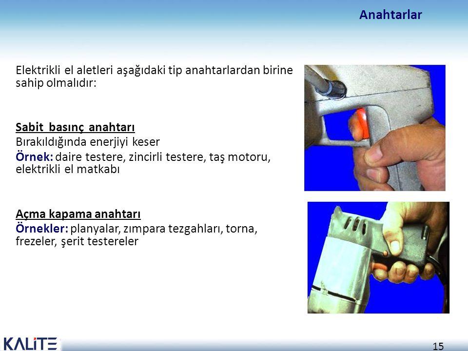 Anahtarlar Elektrikli el aletleri aşağıdaki tip anahtarlardan birine sahip olmalıdır: Sabit basınç anahtarı.