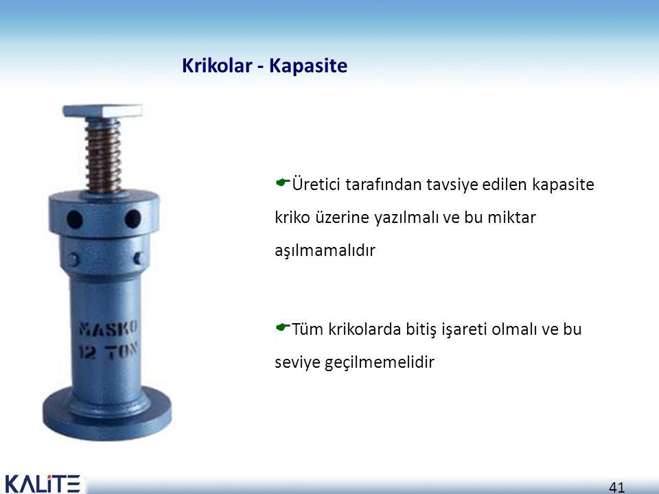 Krikolar - Kapasite Üretici tarafından tavsiye edilen kapasite kriko üzerine yazılmalı ve bu miktar aşılmamalıdır.