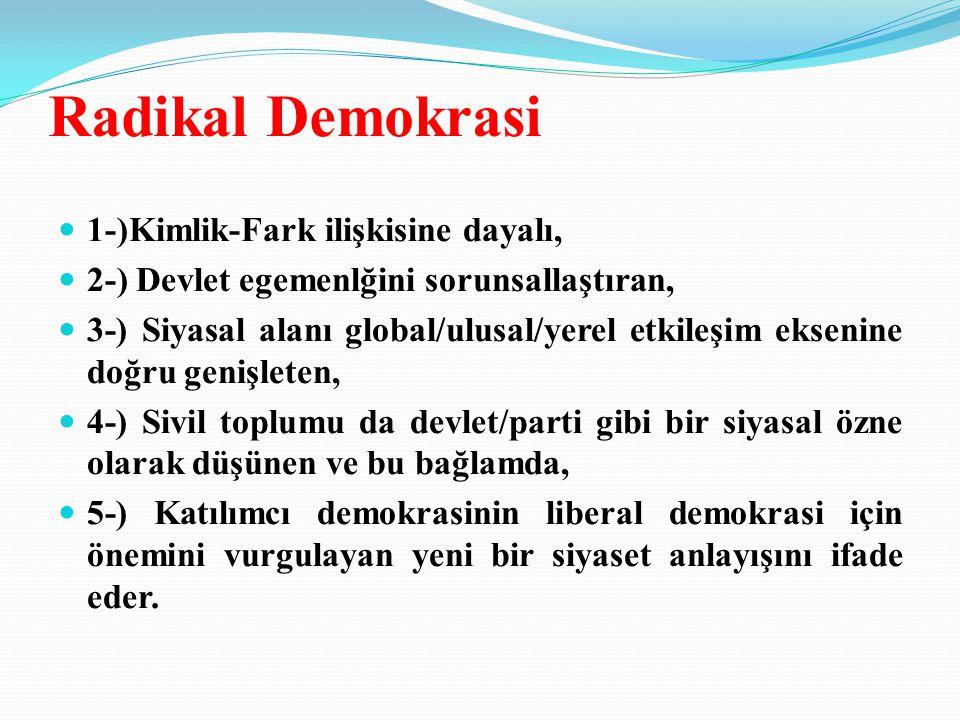 Radikal Demokrasi 1-)Kimlik-Fark ilişkisine dayalı,