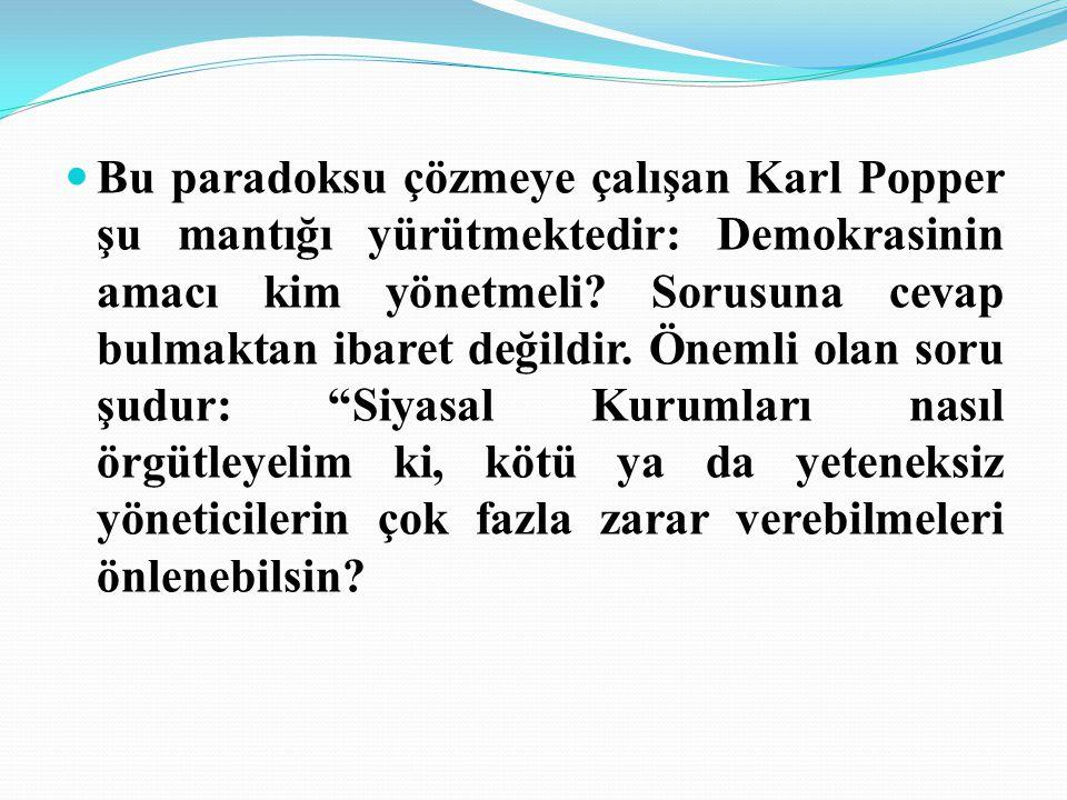 Bu paradoksu çözmeye çalışan Karl Popper şu mantığı yürütmektedir: Demokrasinin amacı kim yönetmeli.