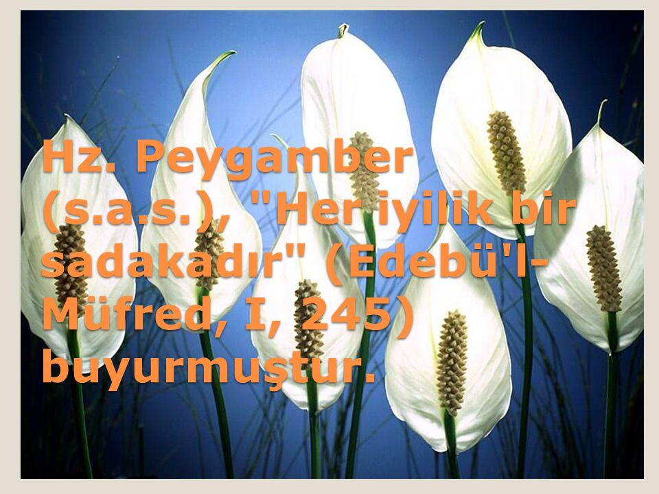 Hz. Peygamber (s.a.s.), Her iyilik bir sadakadır (Edebü l-Müfred, I, 245) buyurmuştur.