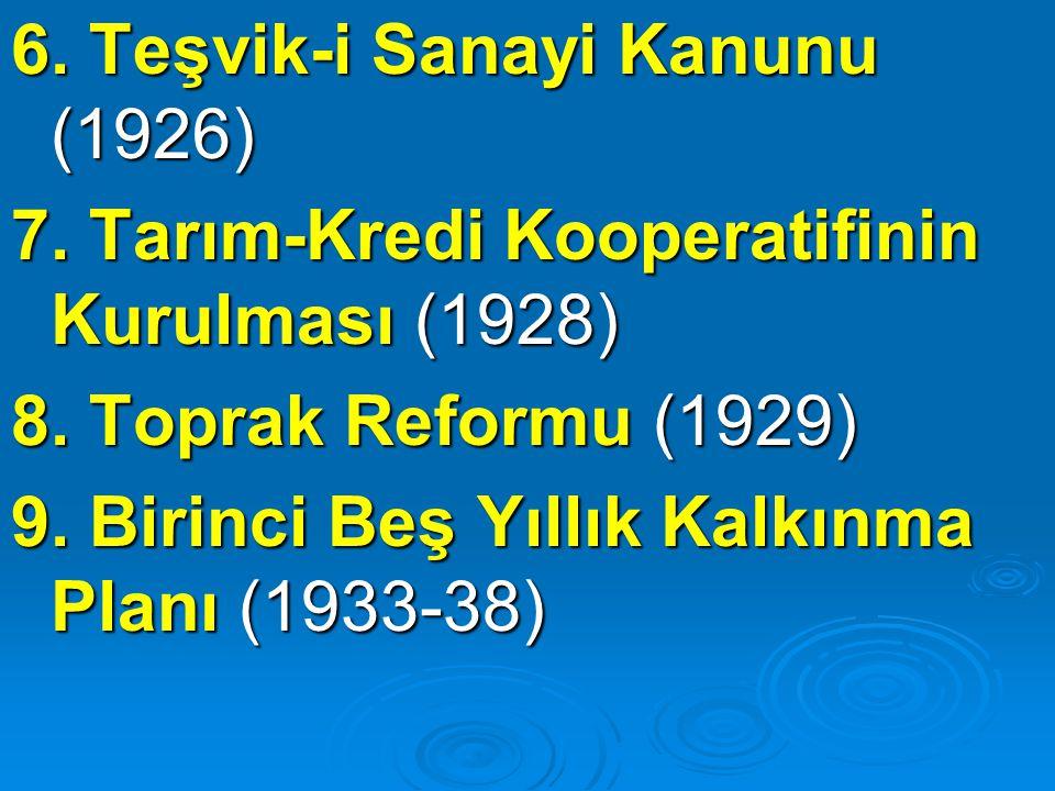 6. Teşvik-i Sanayi Kanunu (1926)