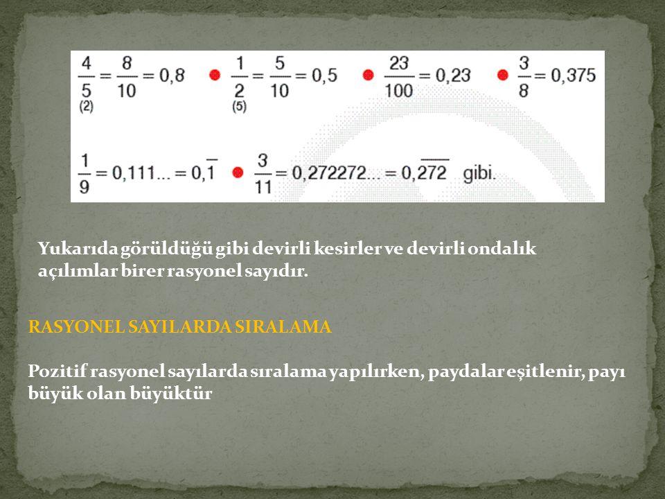 Yukarıda görüldüğü gibi devirli kesirler ve devirli ondalık açılımlar birer rasyonel sayıdır.