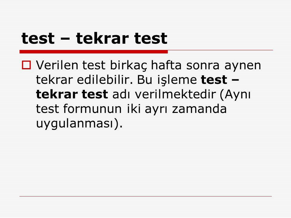 test – tekrar test