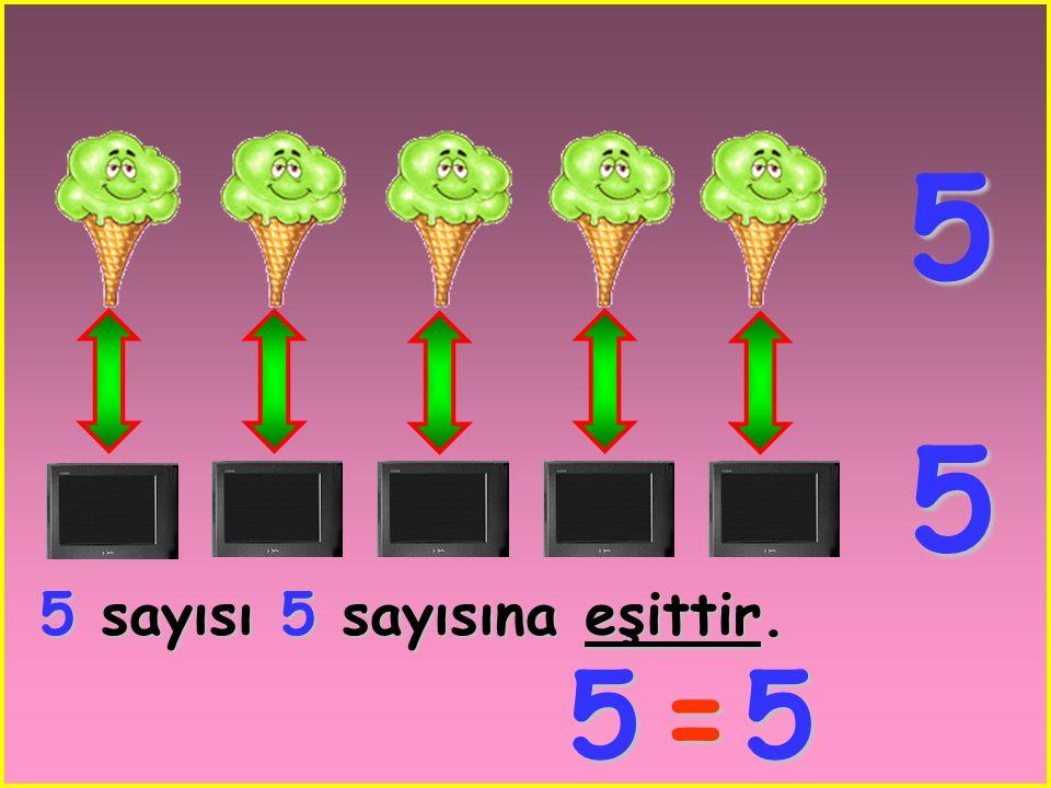 5 5 5 sayısı 5 sayısına eşittir. 5 = 5