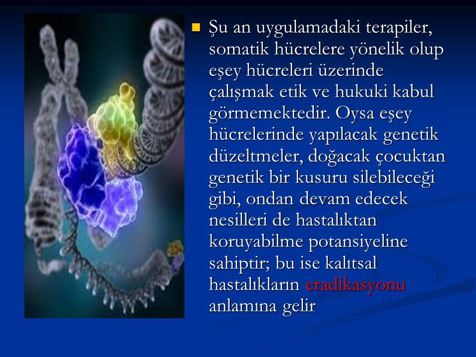 Şu an uygulamadaki terapiler, somatik hücrelere yönelik olup eşey hücreleri üzerinde çalışmak etik ve hukuki kabul görmemektedir.