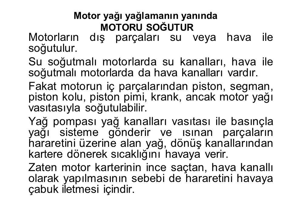 Motor yağı yağlamanın yanında MOTORU SOĞUTUR