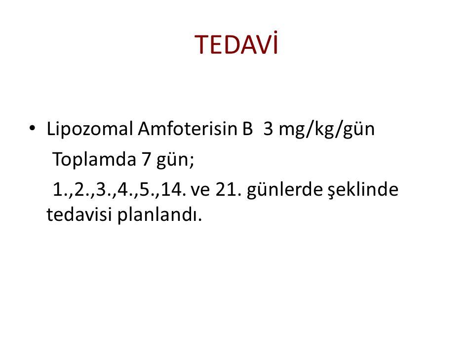 TEDAVİ Lipozomal Amfoterisin B 3 mg/kg/gün Toplamda 7 gün;