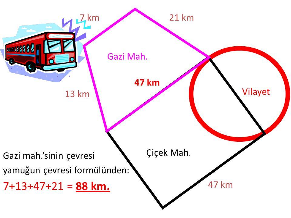 7+13+47+21 = 88 km. 7 km 21 km Gazi Mah. 47 km Vilayet 13 km