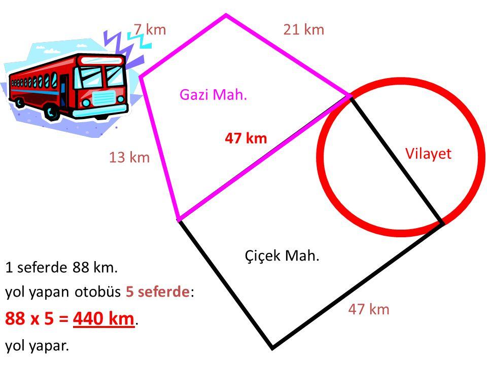 88 x 5 = 440 km. 7 km 21 km Gazi Mah. 47 km Vilayet 13 km Çiçek Mah.