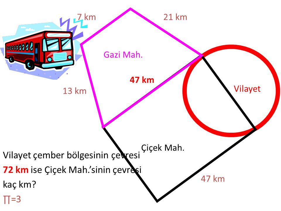 7 km 21 km. Gazi Mah. 47 km. Vilayet. 13 km. Çiçek Mah. Vilayet çember bölgesinin çevresi 72 km ise Çiçek Mah.'sinin çevresi kaç km