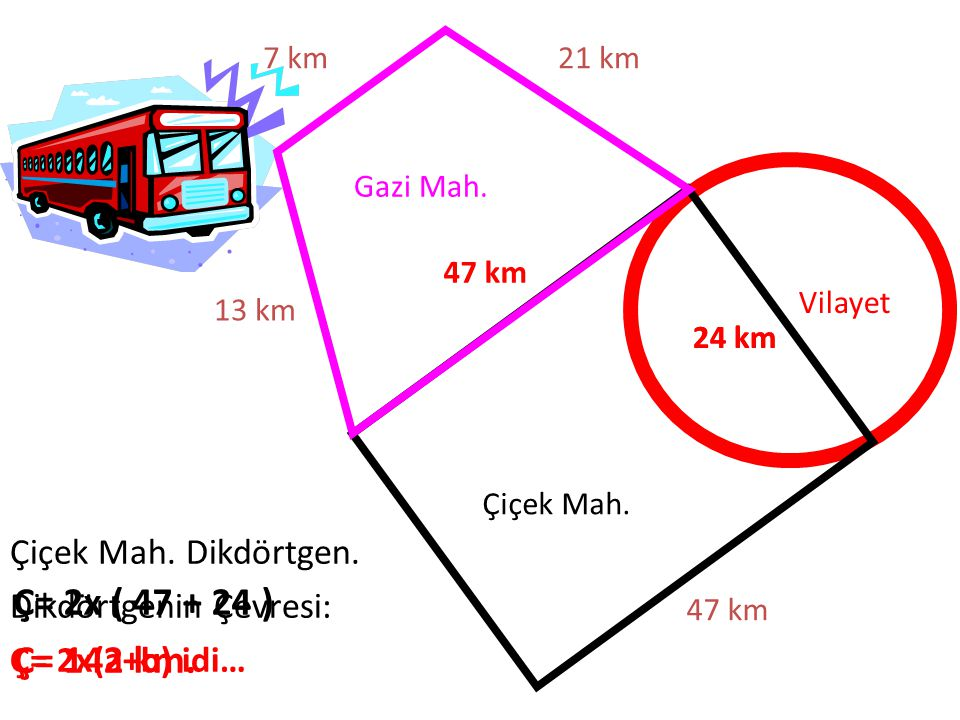 Ç= 2x ( 47 + 24 ) Ç= 142 km. Çiçek Mah. Dikdörtgen.