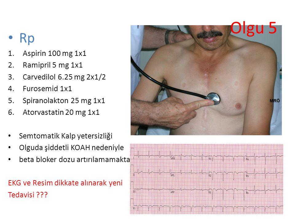 Olgu 5 Rp Aspirin 100 mg 1x1 Ramipril 5 mg 1x1