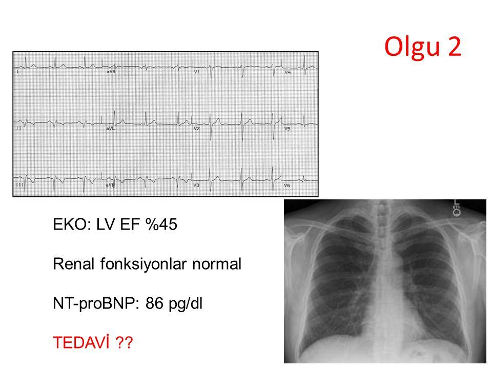 Olgu 2 EKO: LV EF %45 Renal fonksiyonlar normal NT-proBNP: 86 pg/dl