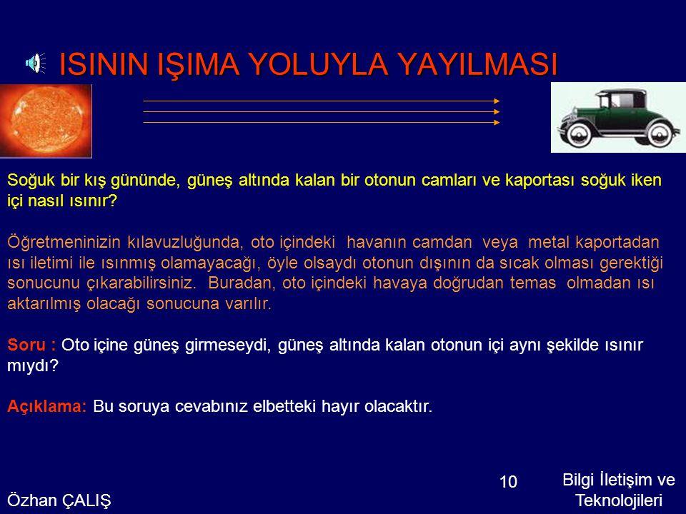 ISININ IŞIMA YOLUYLA YAYILMASI