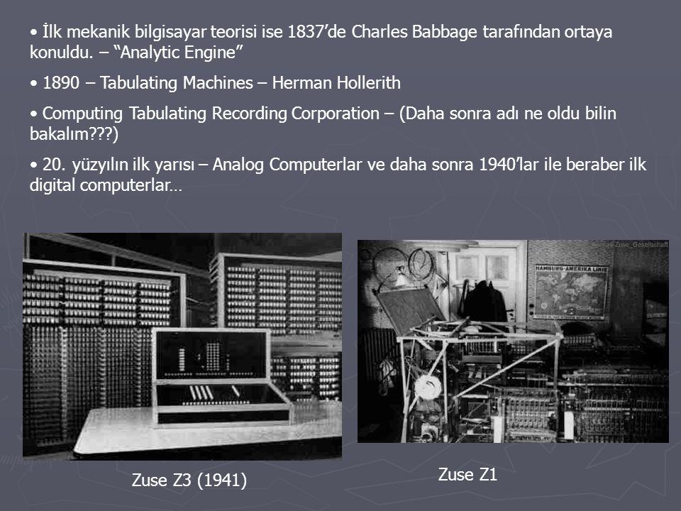 İlk mekanik bilgisayar teorisi ise 1837'de Charles Babbage tarafından ortaya konuldu. – Analytic Engine
