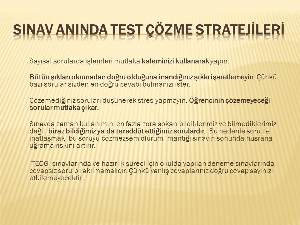 SINAV ANINDA TEST ÇÖZME STRATEJİLERİ