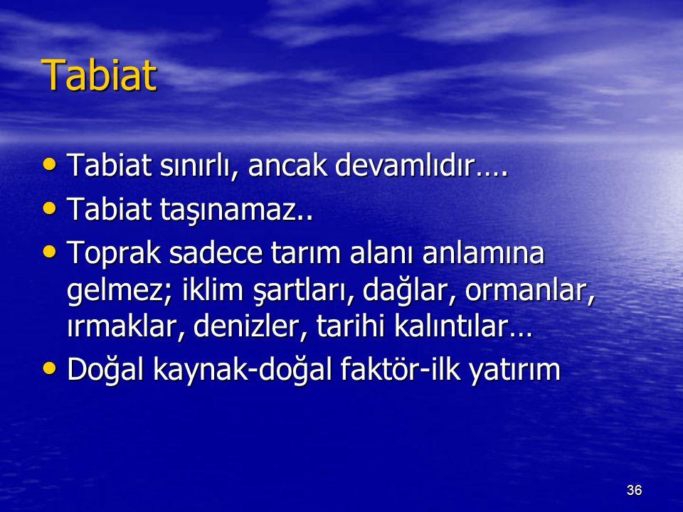 Tabiat Tabiat sınırlı, ancak devamlıdır…. Tabiat taşınamaz..