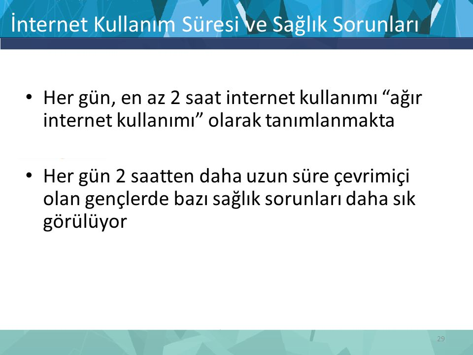 İnternet Kullanım Süresi ve Sağlık Sorunları