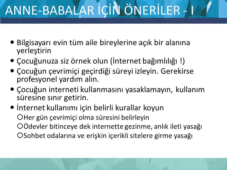 ANNE-BABALAR İÇİN ÖNERİLER - I
