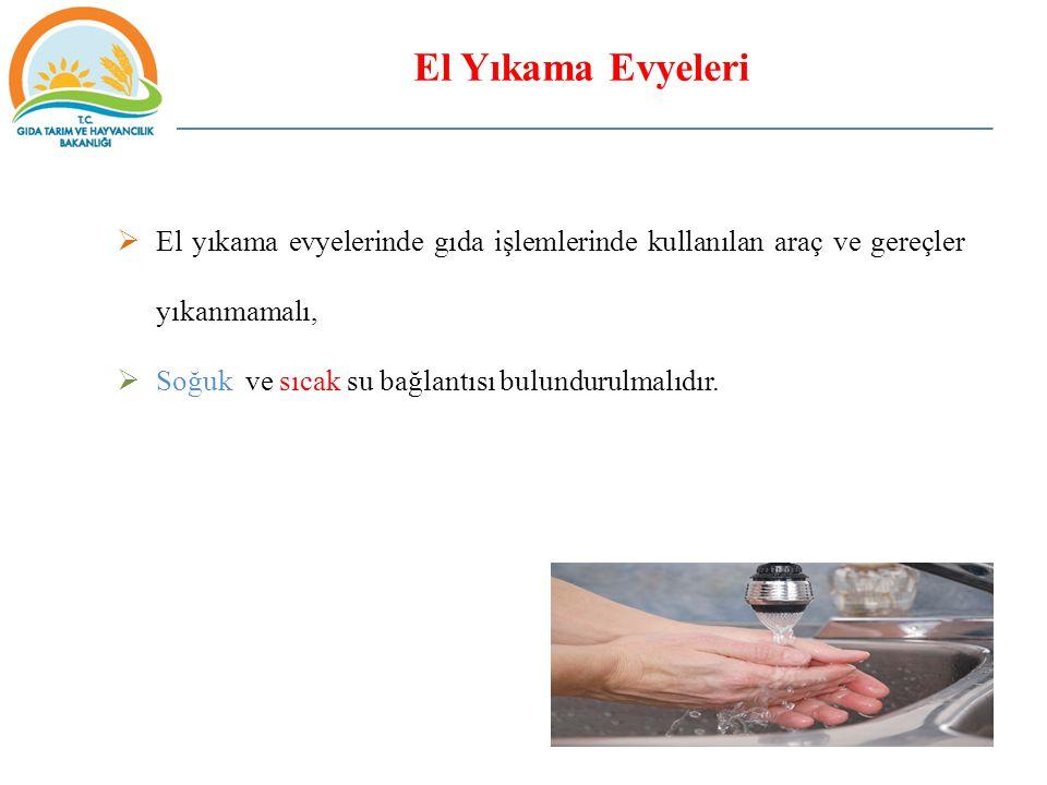 El Yıkama Evyeleri El yıkama evyelerinde gıda işlemlerinde kullanılan araç ve gereçler yıkanmamalı,