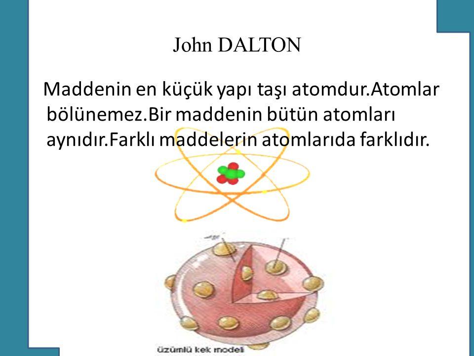 John DALTON Maddenin en küçük yapı taşı atomdur.Atomlar bölünemez.Bir maddenin bütün atomları aynıdır.Farklı maddelerin atomlarıda farklıdır.