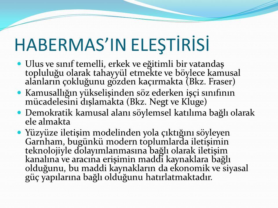 HABERMAS'IN ELEŞTİRİSİ