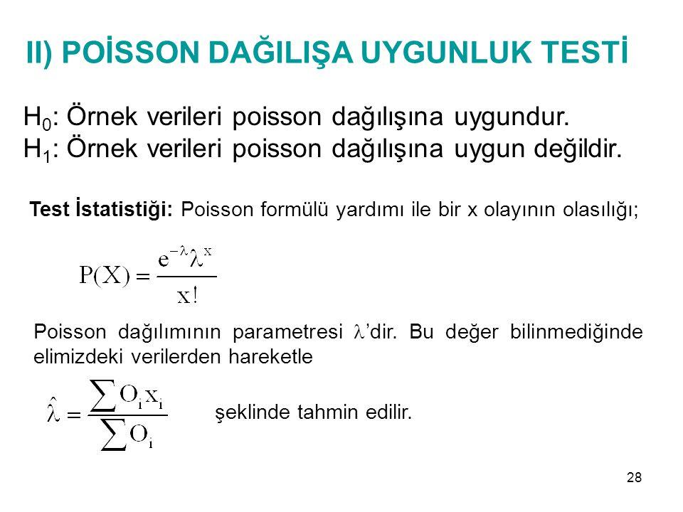 II) POİSSON DAĞILIŞA UYGUNLUK TESTİ