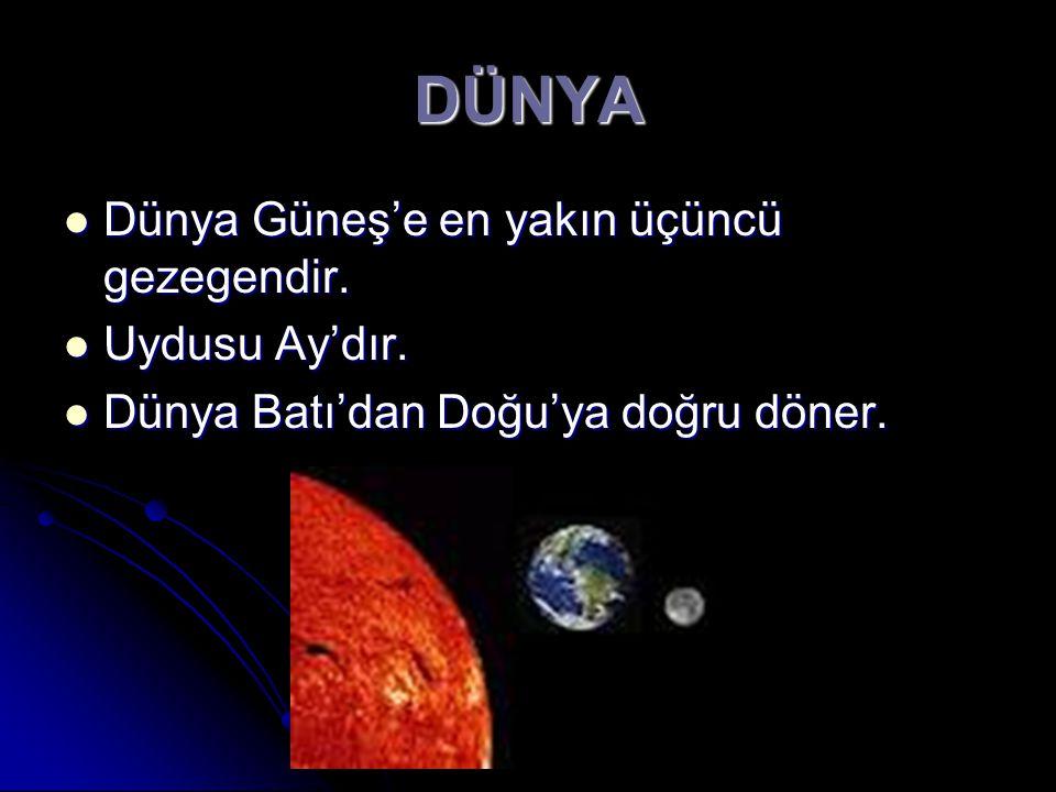DÜNYA Dünya Güneş'e en yakın üçüncü gezegendir. Uydusu Ay'dır.