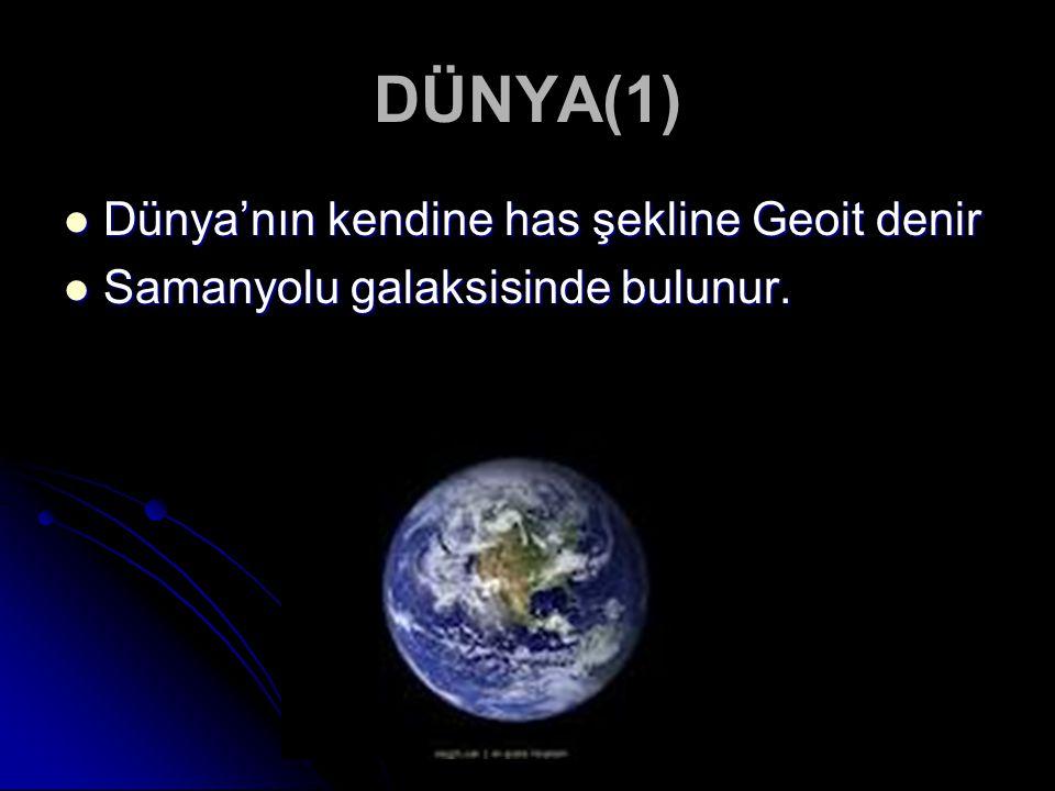 DÜNYA(1) Dünya'nın kendine has şekline Geoit denir