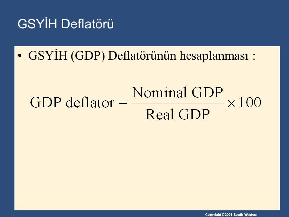 GSYİH Deflatörü GSYİH (GDP) Deflatörünün hesaplanması :