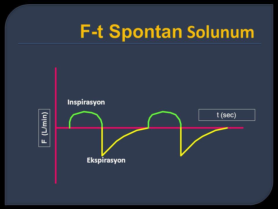 F-t Spontan Solunum Inspirasyon t (sec) F (L/min) Ekspirasyon