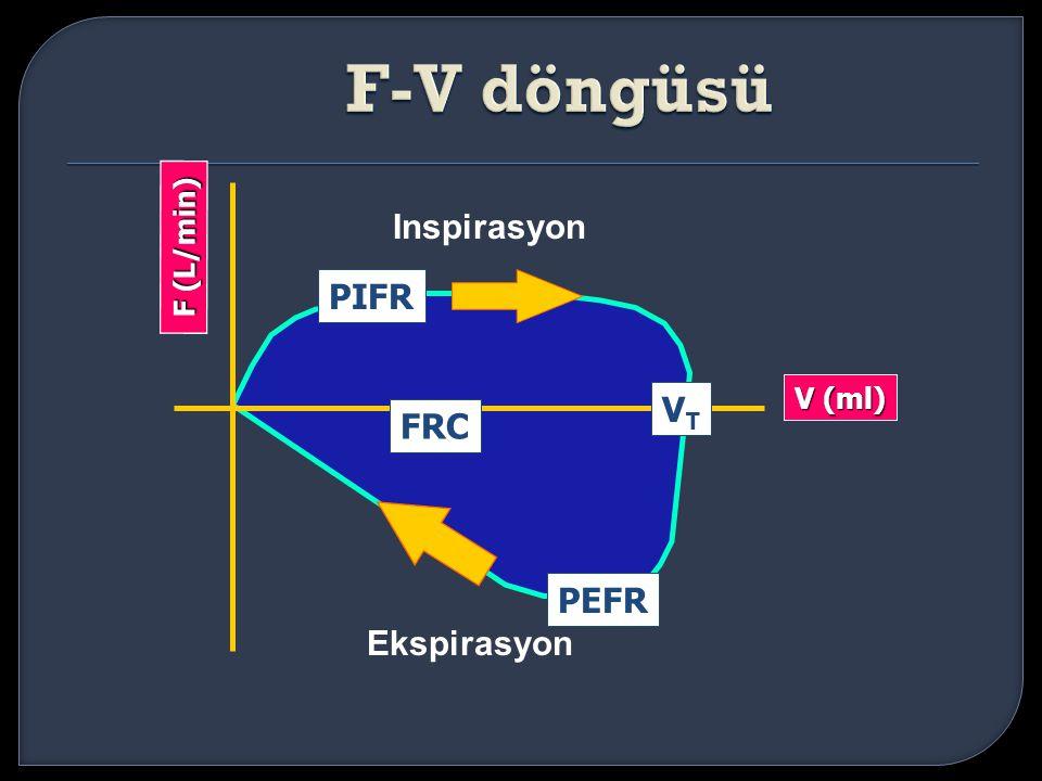 F-V döngüsü Inspirasyon F (L/min) PIFR V (ml) VT FRC PEFR Ekspirasyon