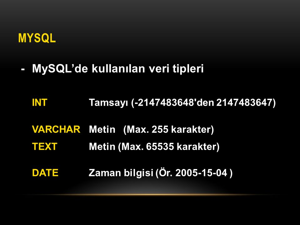 MySQL - MySQL'de kullanılan veri tipleri