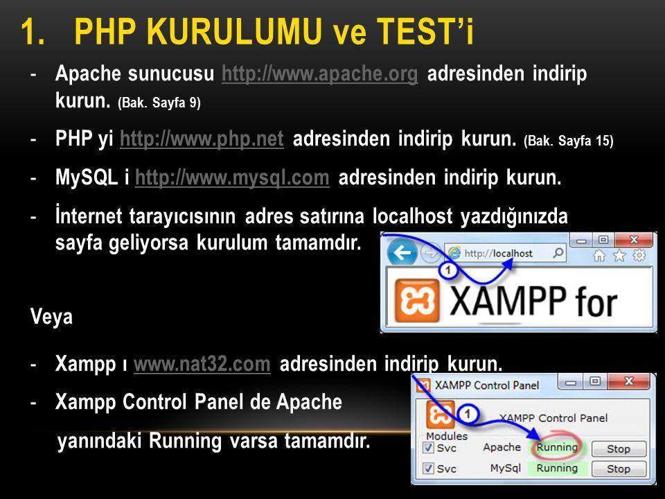 PHP Kurulumu ve test'i Apache sunucusu http://www.apache.org adresinden indirip kurun. (Bak. Sayfa 9)