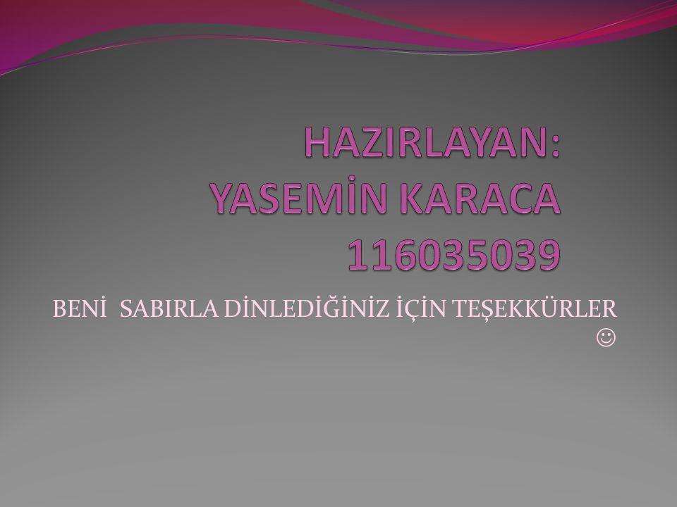 HAZIRLAYAN: YASEMİN KARACA 116035039