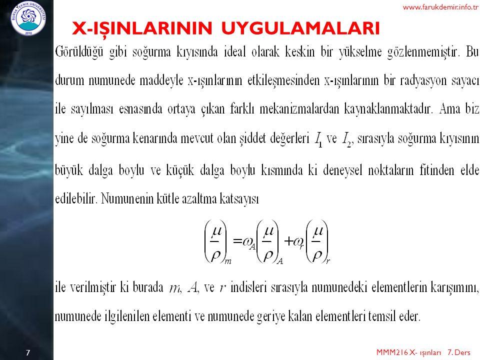 X-IŞINLARININ UYGULAMALARI