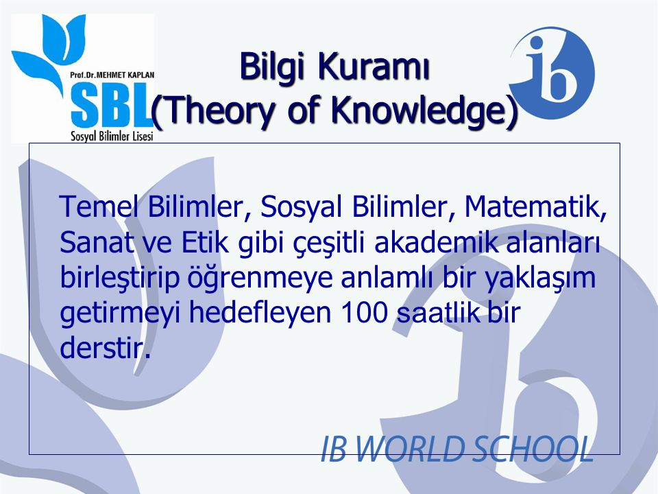 Bilgi Kuramı (Theory of Knowledge)
