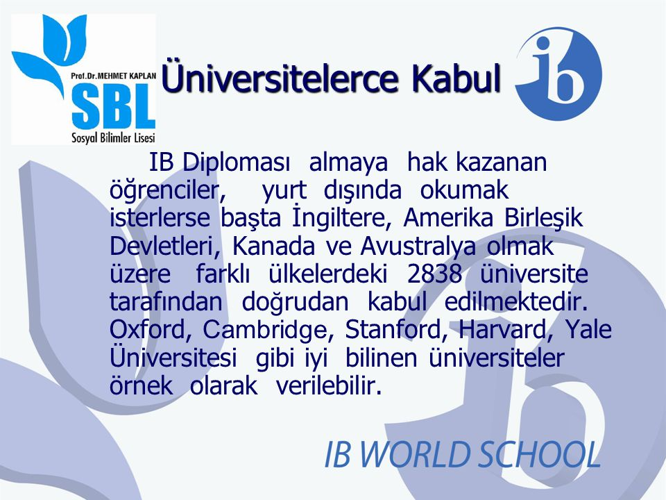 Üniversitelerce Kabul