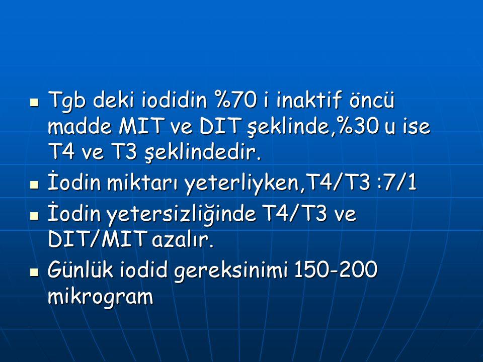 Tgb deki iodidin %70 i inaktif öncü madde MIT ve DIT şeklinde,%30 u ise T4 ve T3 şeklindedir.