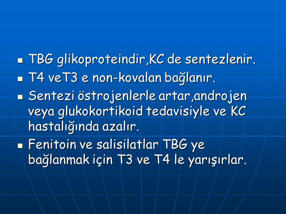 TBG glikoproteindir,KC de sentezlenir.