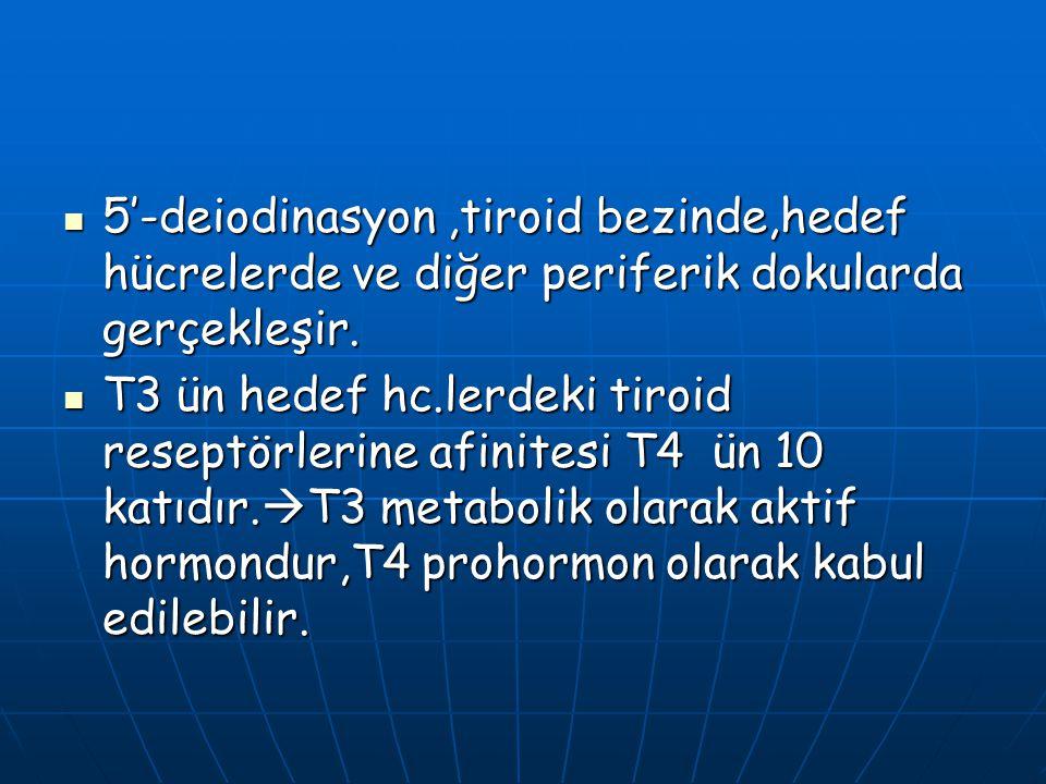 5'-deiodinasyon ,tiroid bezinde,hedef hücrelerde ve diğer periferik dokularda gerçekleşir.