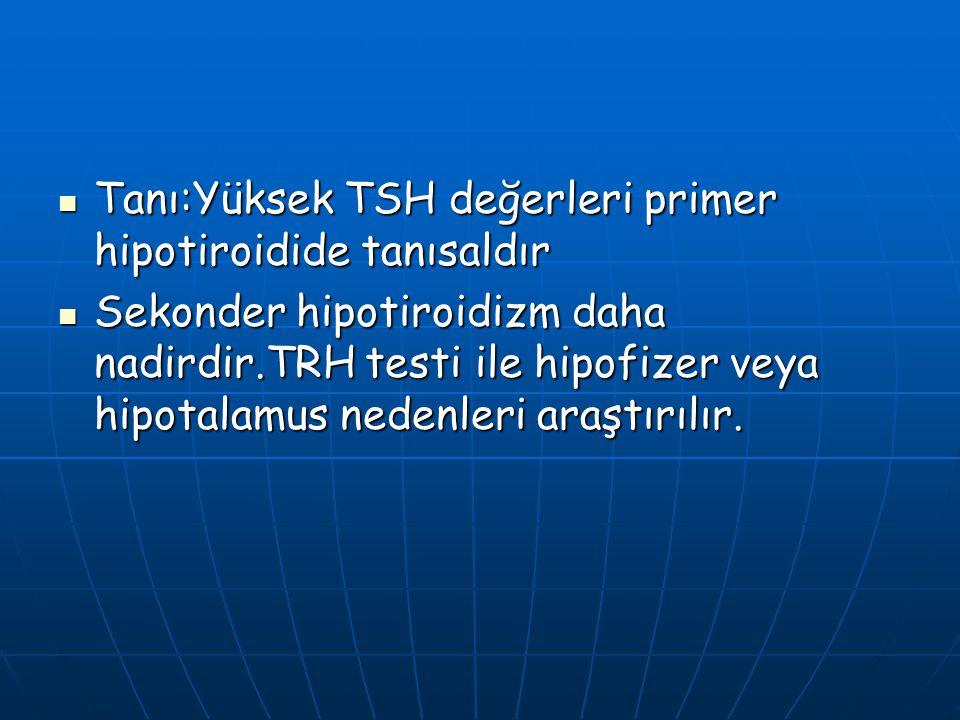Tanı:Yüksek TSH değerleri primer hipotiroidide tanısaldır