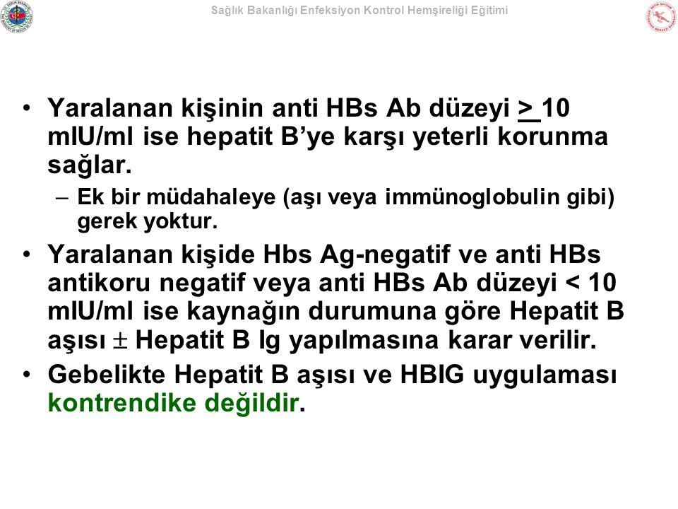 Gebelikte Hepatit B aşısı ve HBIG uygulaması kontrendike değildir.