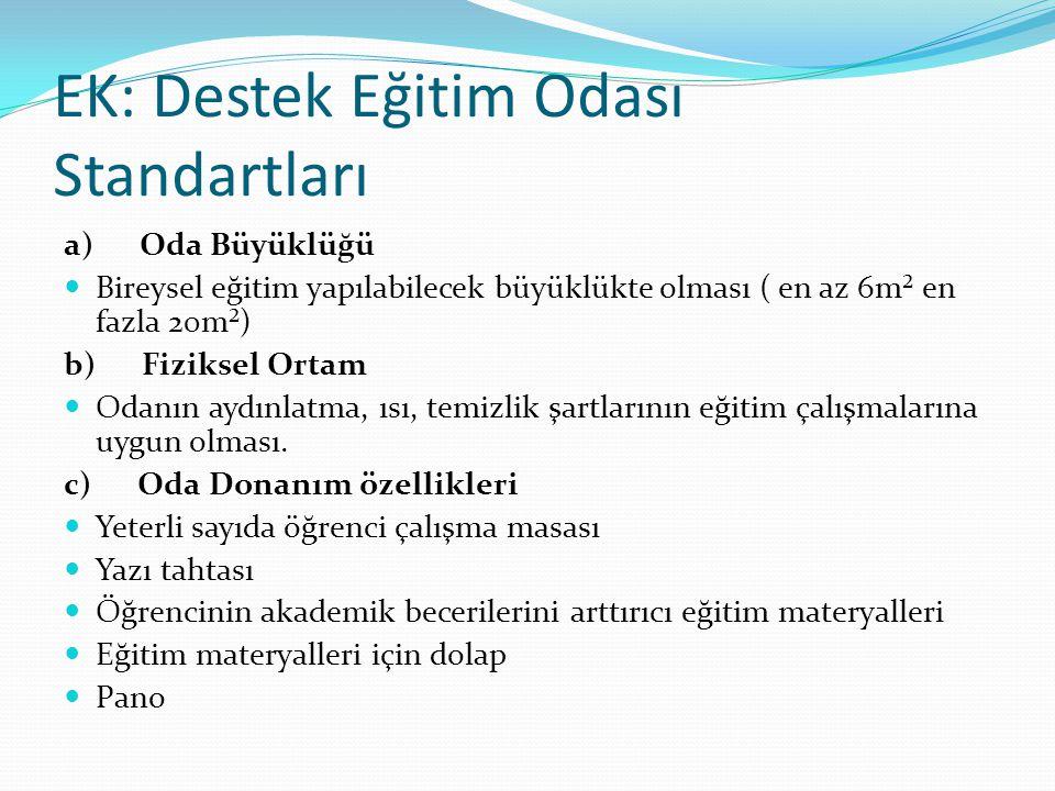 EK: Destek Eğitim Odası Standartları