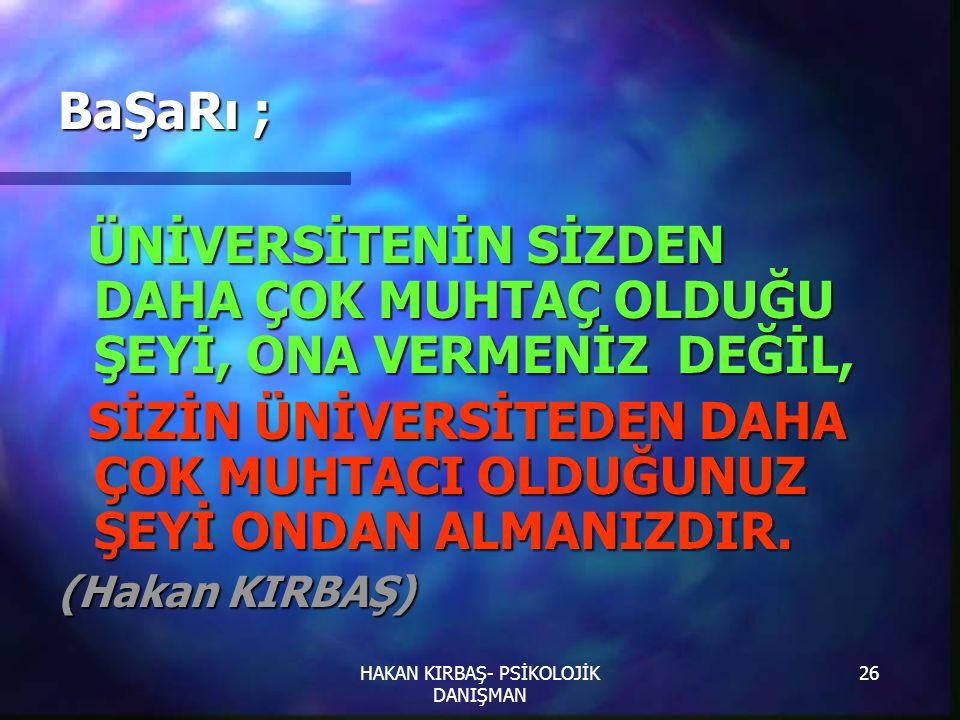 HAKAN KIRBAŞ- PSİKOLOJİK DANIŞMAN
