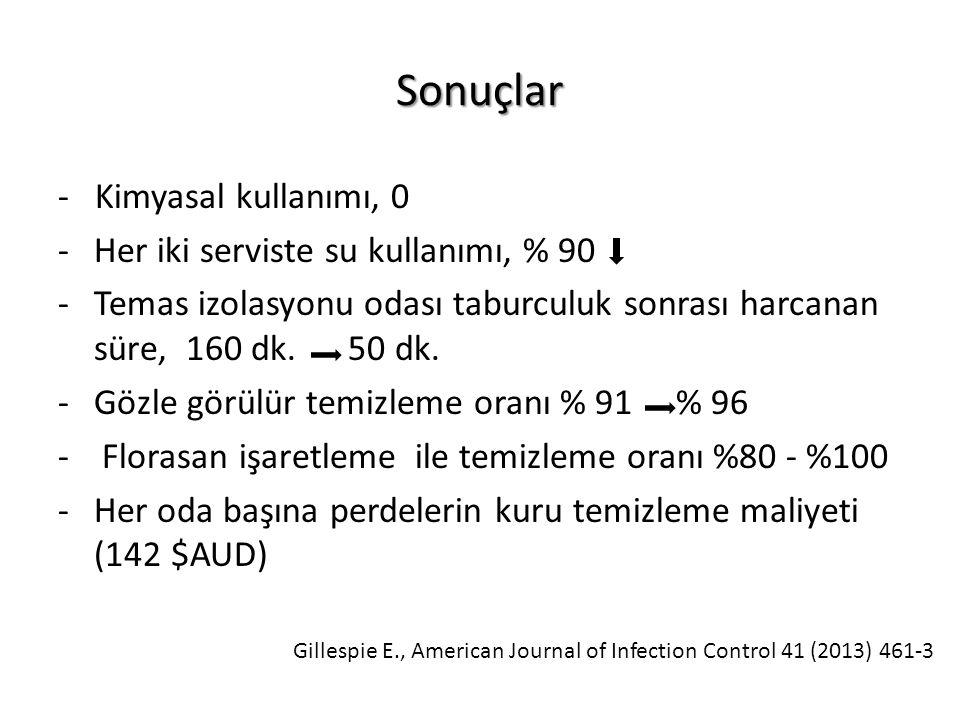 Sonuçlar - Kimyasal kullanımı, 0 Her iki serviste su kullanımı, % 90