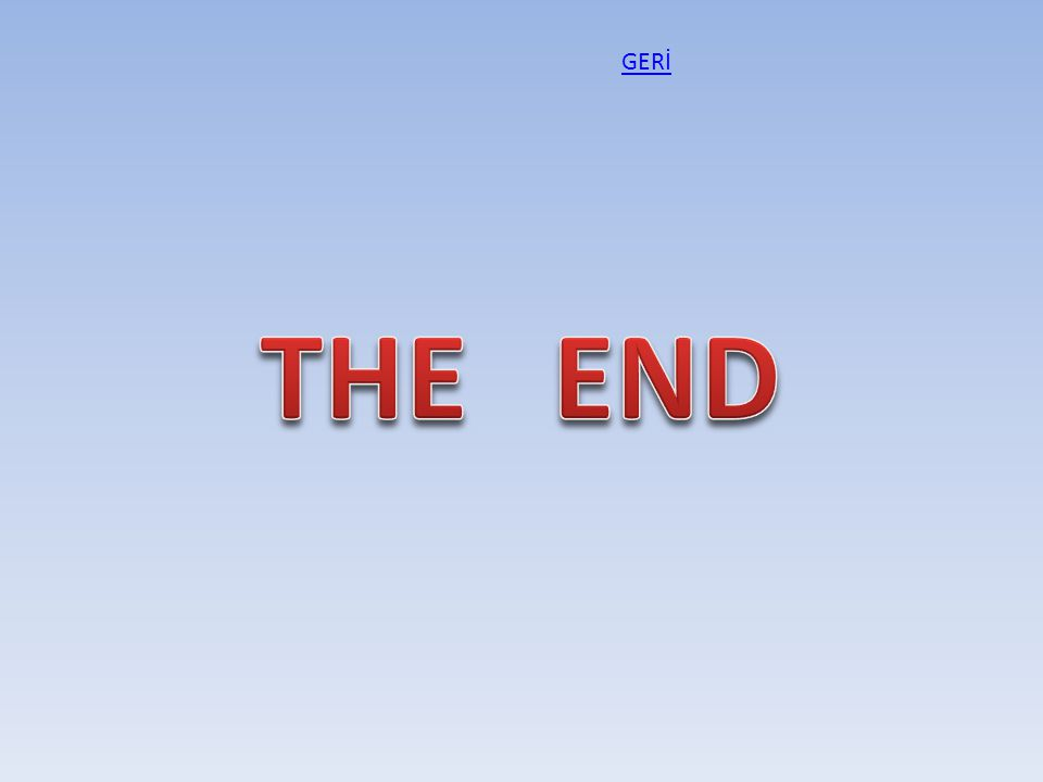 GERİ THE END